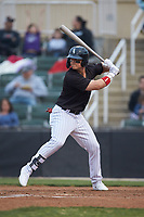 Steele Walker (6) of the Kannapolis Intimidators at bat against the Rome Braves at Kannapolis Intimidators Stadium on April 4, 2019 in Kannapolis, North Carolina.  The Braves defeated the Intimidators 9-1. (Brian Westerholt/Four Seam Images)