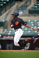 GCL Orioles outfielder Gerrion Grim (25) at bat during the first game of a doubleheader against the GCL Rays on August 1, 2015 at the Ed Smith Stadium in Sarasota, Florida.  GCL Orioles defeated the GCL Rays 2-0.  (Mike Janes/Four Seam Images)