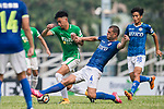 Igor Miovic of Rangers (R) trips up with Chun Lok Tan of Wofoo Tai Po (L) during the week three Premier League match between BC Rangers and Wofoo Tai Po at Sham Shui Po Sports Ground on September 17, 2017 in Hong Kong, China. Photo by Marcio Rodrigo Machado / Power Sport Images