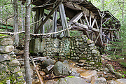 One of the stone abutments that support the abandoned Trestle No. 16 in the Pemigewasset Wilderness of New Hampshire. Seen here in July 2010 this trestle was built in the early 1900s and crosses Black Brook along the old East Branch & Lincoln Railroad (1893-1948).