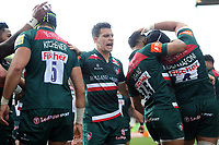 Matt Toomua of Leicester Tigers celebrates a try from team-mate Sione Kalamafoni. Aviva Premiership match, between Leicester Tigers and Wasps on March 25, 2018 at Welford Road in Leicester, England. Photo by: Patrick Khachfe / JMP