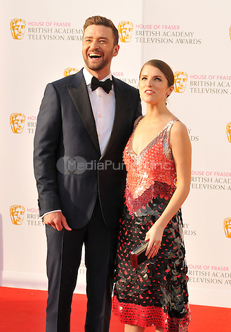 Justin Timberlake &amp; Anna Kendrick at the British Academy (BAFTA) Television Awards 2016, Royal Festival Hall, Belvedere Road, London, England, UK, on Sunday 08 May 2016.<br /> CAP/CAN<br /> &copy;CAN/Capital Pictures /MediaPunch ***NORTH AMERICAN AND SOUTH AMERICAN SALES ONLY***