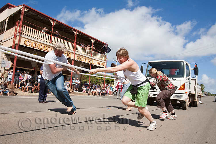 Truck pulling competition during Cooktown Discovery Festival (held in June).  Cooktown, Queensland, Australia