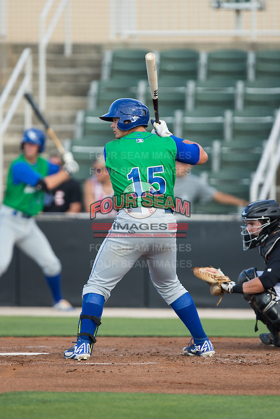 Chase Vallot (15) of the Lexington Legends at bat against the Kannapolis Intimidators at CMC-Northeast Stadium on May 25, 2015 in Kannapolis, North Carolina.  The Intimidators defeated the Legends 6-5.  (Brian Westerholt/Four Seam Images)