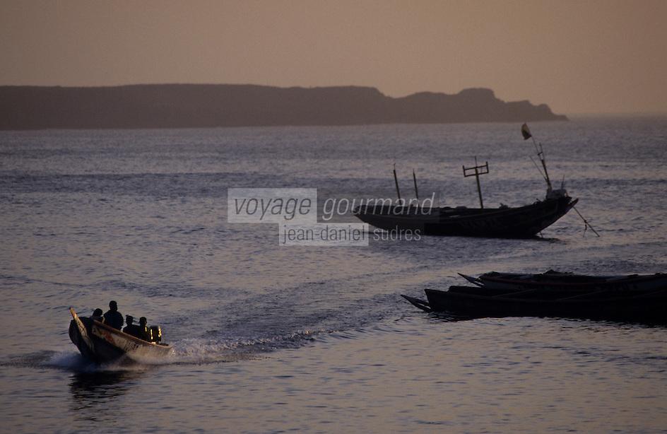 Afrique/Afrique de l'Ouest/Sénégal/Dakar : Pirogues des pêcheurs arrivant au marché de Soumbedioune