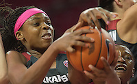 NWA Democrat-Gazette/J.T. WAMPLER Arkansas' Jessica Jackson struggles for the ball against Kentucky's Evelyn Akhator Thursday Feb. 16, 2017 at Bud Walton Arena in Fayetteville. The Wildcats won 69-62.