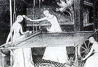 "Technology:  Horizontal Loom & Spinning Wheel, 14th Century.  These ""revolutionized textile production in 14th C.""  Burke, CONNECTION, '93."
