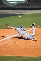 Louisiana Tech Bulldogs third baseman Mason Paxton (16) can't stop this line drive down the line during the game against the Charlotte 49ers at Hayes Stadium on March 28, 2015 in Charlotte, North Carolina.  The 49ers defeated the Bulldogs 9-5 in game two of a double header.  (Brian Westerholt/Four Seam Images)