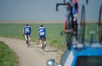 Team Wanty-Groupe Gobert on the cobbles<br /> <br /> 2015 Paris-Roubaix recon