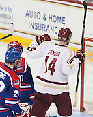 Adam Gilmour (BC - 14) celebrates his goal. - The Boston College Eagles defeated the visiting University of Massachusetts Lowell River Hawks 3-0 on Friday, February 21, 2014, at Kelley Rink in Conte Forum in Chestnut Hill, Massachusetts.