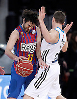 Real Madrid's Jaycee Carroll (r) and FC Barcelona Regal's Juan Carlos Navarro during Spanish Basketball King's Cup match.February 07,2013. (ALTERPHOTOS/Acero) /Nortephoto