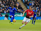 3rd February 2019, King Power Stadium, Leicester, England; EPL Premier League Football, Leicester City versus Manchester United; Ricardo Pereira of Leicester City controls the ball covered by Nemanja Matic of Manchester United