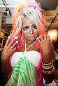 Ayuyun, a member of staff, poses for a picture at the Ganguro Cafe &amp; Bar in the Shibuya shopping area on September 4, 2015. <br /> <br /> Ganguro is an alternative Japanese fashion trend which started in the mid-1990s where young women, rebelling against the traditional idea of Japanese beauty, wore colorful make-up and clothes and had dark-skin.<br /> <br /> 10 Ganguro fashion girls work in the new bar, which offers original Ganguro Balls (fried takoyaki style sausage balls in black squid ink batter) on its menu. Ganguro Caf&eacute; &amp; Bar also offers special services such as Ganguro make-up and the chance to take purikura (photo booth pictures) with staff and to look like a Ganguro girl walking around the Shibuya streets.<br /> <br /> The bar is popular with both Japanese and foreigners and has menus translated in English. (Photo by Rodrigo Reyes Marin/AFLO)