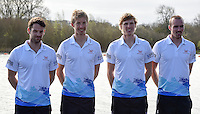 Caversham. Berkshire. UK<br /> GBR LM4-, left Chris BARTLEY, Mark ALDRED, Jonno CLEGG and Peter CHAMBERS.<br /> 2016 GBRowing European Team Announcement,  <br /> <br /> Wednesday  06/04/2016 <br /> <br /> [Mandatory Credit; Peter SPURRIER/Intersport-images]