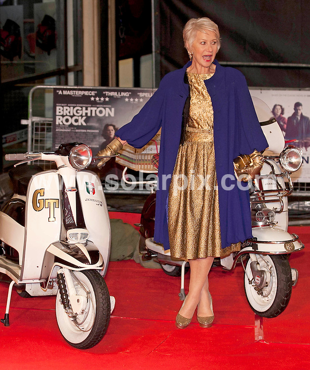 **ALL ROUND PICTURES FROM SOLARPIX.COM**                                             **NO UK NEWSPAPER PUBLICATION**.**UK MAGAZINE & SUPPLEMENT PUBLICATION ONLY** AND NO PUBLICATION IN AUSTRALIA, BELGIUM, FRANCE, GERMANY, ITALY, SCANDINAVIA AND USA**                                                                                  Caption: The UK Film Premiere of 'Brighton Rock' at the Odeon West End on February 1, 2011 in London .This pic: Dame Helen Mirren                                                                                                                                                            JOB REF: 12741  SFE       DATE: 01_02_2011                                                           **MUST CREDIT SOLARPIX.COM OR DOUBLE FEE WILL BE CHARGED**                                                                      **MUST AGREE FEE BEFORE ONLINE USAGE**                               **CALL US ON: +34 952 811 768 or LOW RATE FROM UK 0844 617 7637**