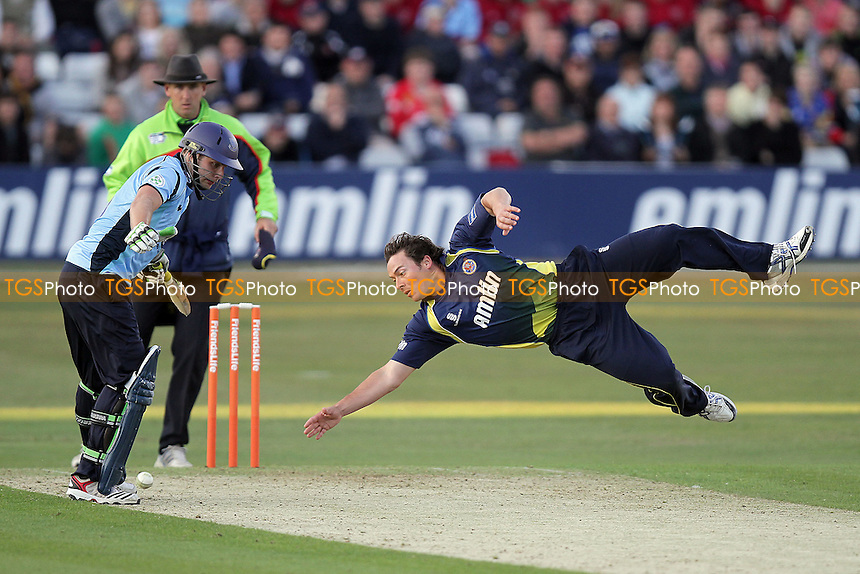 Graham Napier of Essex dives as he attempts to field off his own bowling - Essex Eagles vs Sussex Sharks - Friends Life T20 Cricket at the Ford County Ground, Chelmsford - 08/06/11 - MANDATORY CREDIT: Gavin Ellis/TGSPHOTO - Self billing applies where appropriate - Tel: 0845 094 6026