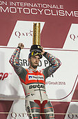 18th March 2018, Losail International Circuit, Lusail, Qatar; Qatar Motorcycle Grand Prix, Sunday race day; Andrea Dovizioso (Ducati)with his race winner trophy
