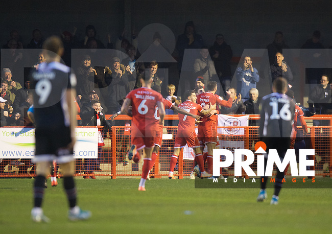 Ashley Nadesan of Crawley Town celebrates after scoring their 3rd goal to make it 3-2 during the Sky Bet League 2 match between Crawley Town and Grimsby Town at The People's Pension Stadium, Crawley, England on 25 January 2020. Photo by Alan  Stanford / PRiME Media Images.