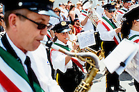 Marching bands perform in the Sunday Procession at St. Peter's Fiesta in Gloucester, Massachusetts, USA.