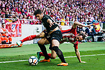Juanfran Torres of Atletico de Madrid (R) fights for the ball with Jose Angel Cote of SD Eibar (L) during the La Liga match between Atletico Madrid and Eibar at Wanda Metropolitano Stadium on May 20, 2018 in Madrid, Spain. Photo by Diego Souto / Power Sport Images