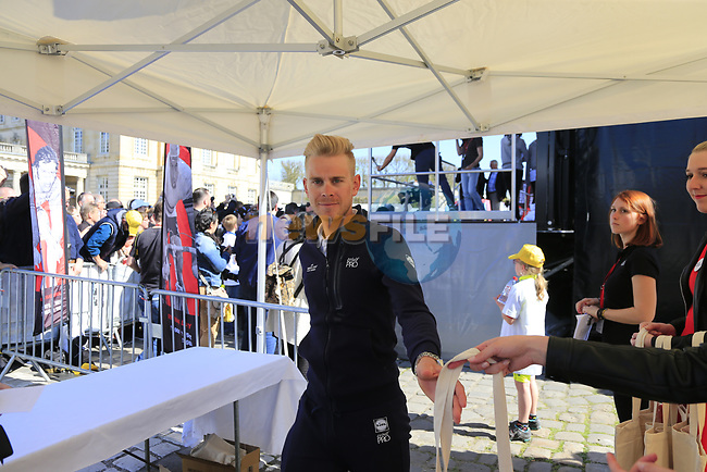 Julien Vermote (BEL) Quick-Step Floors at the Team Presentation for the upcoming 115th edition of the Paris-Roubaix 2017 race held in Compiegne, France. 8th April 2017.<br /> Picture: Eoin Clarke | Cyclefile<br /> <br /> <br /> All photos usage must carry mandatory copyright credit (&copy; Cyclefile | Eoin Clarke)