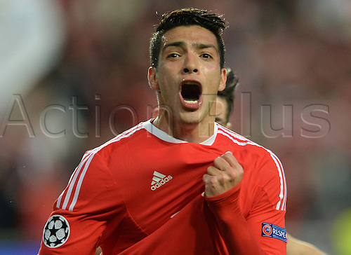 13.04.2016. Lisbon, Portugal.  Benifica's Raul Jimenez celebrates after scoring the first goal during the UEFA Champions League quarterfinal second leg soccer match between SL Benfica and FC Bayern Munich at Luz Stadium in Lisbon, Portugal, 13 April 2016.