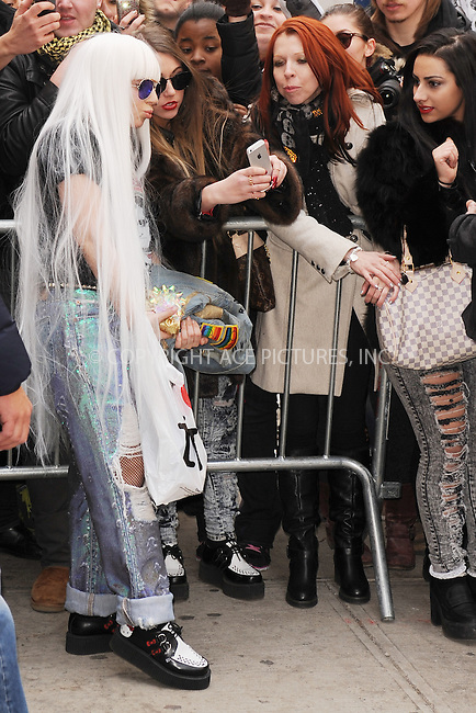 WWW.ACEPIXS.COM<br /> March 27, 2014 New York City<br /> <br /> Lady Gaga arriving to the Roseland Ballroom on March 27, 2014 in New York City.<br /> <br /> Please byline: Kristin Callahan<br /> <br /> ACEPIXS.COM<br /> <br /> Tel: (212) 243 8787 or (646) 769 0430<br /> e-mail: info@acepixs.com<br /> web: http://www.acepixs.com