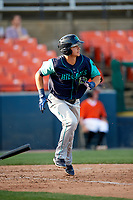 Lynchburg Hillcats shortstop Luke Wakamatsu (12) runs to first base during the first game of a doubleheader against the Frederick Keys on June 12, 2018 at Nymeo Field at Harry Grove Stadium in Frederick, Maryland.  Frederick defeated Lynchburg 2-1.  (Mike Janes/Four Seam Images)