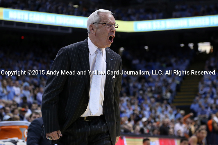 02 February 2015: UNC head coach Roy Williams. The University of North Carolina Tar Heels played the University of Virginia Cavaliers in an NCAA Division I Men's basketball game at the Dean E. Smith Center in Chapel Hill, North Carolina. Virginia won the game 75-64.