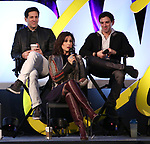 Michael Berresse, Stephanie J. Block and Jarrod Spector on stage during Broadwaycon at New York Hilton Midtown on January 11, 2019 in New York City.