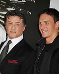 HOLLYWOOD, CA - AUGUST 15: Sylvester Stallone and Ryan Lochte arrive at the 'The Expendables 2' - Los Angeles Premiere at Grauman's Chinese Theatre on August 15, 2012 in Hollywood, California.