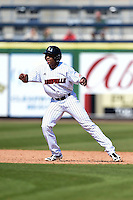 Louisville Cardinals outfielder Corey Ray (2) leads off second during a game against the Cal State Fullerton Titans on February 15, 2015 at Bright House Field in Clearwater, Florida.  Cal State Fullerton defeated Louisville 8-6.  (Mike Janes/Four Seam Images)