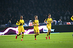 16.03.2019, OLympiastadion, Berlin, GER, DFL, 1.FBL, Hertha BSC VS. Borussia Dortmund, <br /> DFL  regulations prohibit any use of photographs as image sequences and/or quasi-video<br /> <br /> im Bild Manuel Akanji (Borussia Dortmund #16), Marco Reus (Borussia Dortmund #11), Thomas Delaney (Borussia Dortmund #6)<br /> <br />       <br /> Foto © nordphoto / Engler