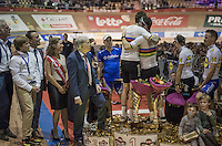 Mark Cavendish (GBR/DimensionData) &  Sir Bradley Wiggins (GBR/Wiggins) hugging as Wiggo adressed the crowd (after winning the 2016 Gent 6) and announcing that this was their very last race together (after succesfully teaming up over the previous 12 years)
