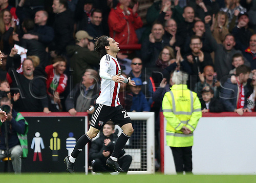April 14th 2017,  Brent, London, England; Skybet Championship football, Brentford versus Derby County; Jota of Brentford celebrates scoring his sides 4th goal in the 90th minute to make it 4-0