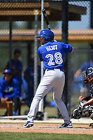 Toronto Blue Jays Gunnar Heidt (28) during a minor league spring training game against the New York Yankees on March 24, 2015 at the Englebert Complex in Dunedin, Florida.  (Mike Janes/Four Seam Images)