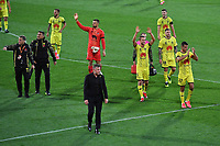 15th March 2020, Wellington, New Zealand;  Phoenix head coach Ufuk Talay leads his team from the field after the win in the A-League - Wellington Phoenix versus Melbourne Victory football match at Sky Stadium in Wellington on Sunday the 15th March 2020.