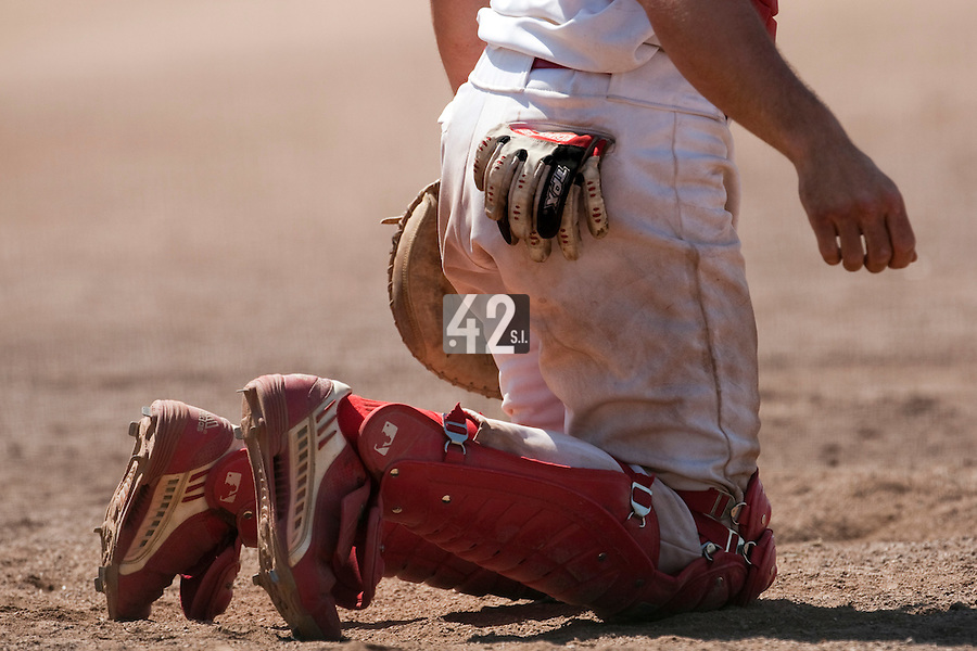 24 May 2009: Close view of a catcher during the 2009 challenge de France, a tournament with the best French baseball teams - all eight elite league clubs - to determine a spot in the European Cup next year, at Montpellier, France. Senart wins 8-5 over La Guerche.