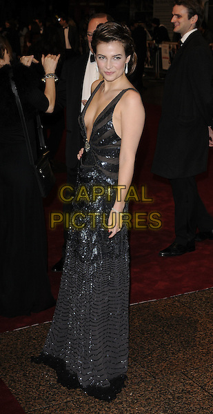 "CAMILLA ARFWEDSON.World Premiere of ""Bunch of Amateurs"" at the Odeon, Leicester Square London, England..November 17th 2008.full length black halterneck low cut plunging neckline cleavage beaded sequined sequins dress silver sheer.CAP/CAN.©Can Nguyen/Capital Pictures."