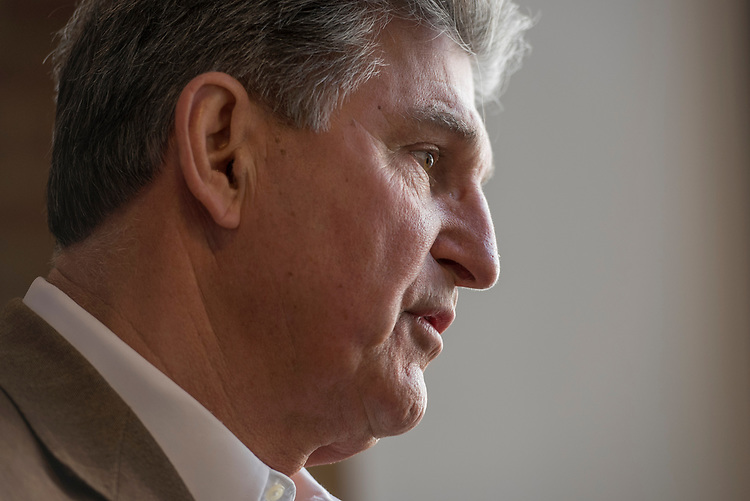 UNITED STATES - MARCH 16: Sen. Joe Manchin, D-W.Va., is interviewed before a town hall meeting at the WVU Robert C. Byrd Health Sciences Center in Martinsburg, W.Va., March 16, 2017. Much of the discussion was regarding the American Health Care Act, the Republican's plan to repeal and replace the ACA. (Photo By Tom Williams/CQ Roll Call)