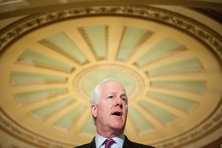 UNITED STATES  MARCH 6: Sen. John Cornyn, R-Texas, speaks to reporters following the Senate Republicans' policy lunch in the Capitol on Tuesday, March 6, 2012. (Photo By Bill Clark/CQ Roll Call)