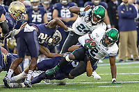 Annapolis, MD - October 26, 2019: Tulane Green Wave safety P.J. Hall (2) intercepts a pass during the game between Tulane and Navy at  Navy-Marine Corps Memorial Stadium in Annapolis, MD.   (Photo by Elliott Brown/Media Images International)