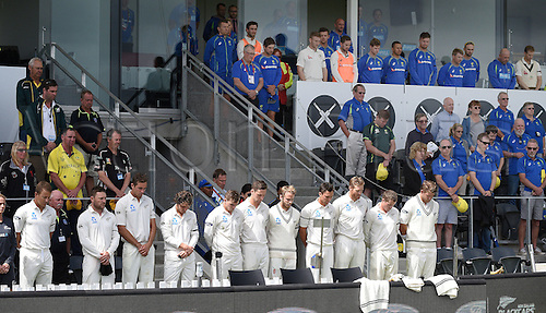 22.02.2016. Christchurch, New Zealand.  New Zealand and Australian players during a moments silence in remembrance of the Christchurch earthquake of February 22, 2011. Day 3 of the 2nd test match. New Zealand Black Caps v Australia. Hagley Oval in Christchurch, New Zealand. Monday 22 February 2016.