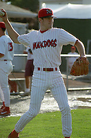Batavia Muckdogs Chase Utley (8) warms up before a game at Dwyer Stadium in Batavia, New York during the 2000 season.  Photo By Mike Janes/Four Seam Images