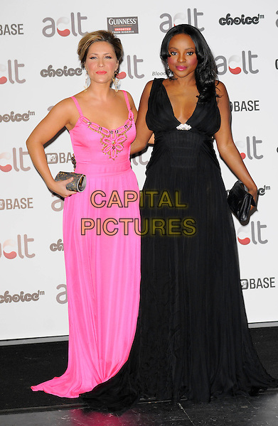 HEIDI RANGE & KEISHA BUCHANAN .Afro Caribbean Leukaemia Trust Gift Of Life Ball at the Inter-Continental Hotel, Park Lane, London, England, September 20th 2008..full length black pink gold long maxi dress hand on hip Sugababes clutch bag .CAP/CAN.©Can Nguyen/Capital Pictures