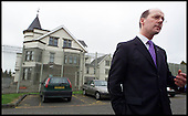 SNP Leader John Swinney pictured outside Dungavel following his visit to see facilities that are to be used to detain those held in the asylum system ..... picture by Donald MacLeod  10.09.01