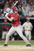 Alabama Crimson Tide pitcher Ray Castillo (23) batting at Baum Stadium during the NCAA baseball game against the Arkansas Razorbacks on March 21, 2014 in Fayetteville, Arkansas.  The Alabama Crimson Tide defeated the Arkansas Razorbacks 17-9.  (William Purnell/Four Seam Images)