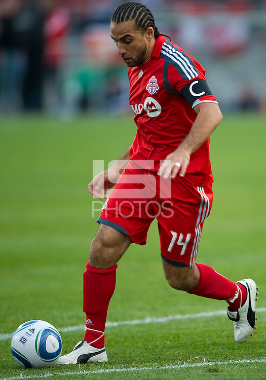 15 April 2010: Toronto FC midfielder Dwayne De Rosario #14 in action during a game between the Philadelphia Union and Toronto FC at BMO Field in Toronto..Toronto FC won 2-1..Photo by Nick Turchiaro/isiphotos.com.