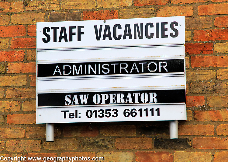Staff vacancies notice board, Ely, Cambridgeshire, England, UK
