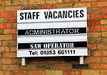 Staff vacancies notice board, Ely, Cambridgeshire, England, UK